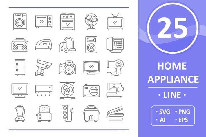 Thumbnail for 25 Home Appliance Icons - Line