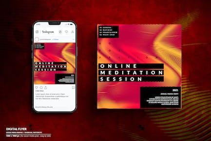 Online-Meditation Digitaler Flyer - Soziale Medien