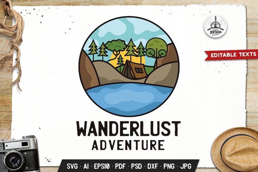 Wanderlust Emblem Modern Logo SVG. Travel Badge