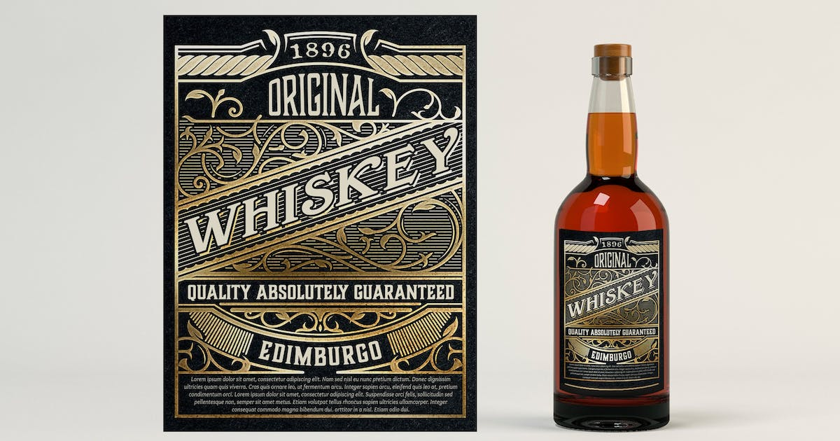 Download Vintage whiskey label by roverto007