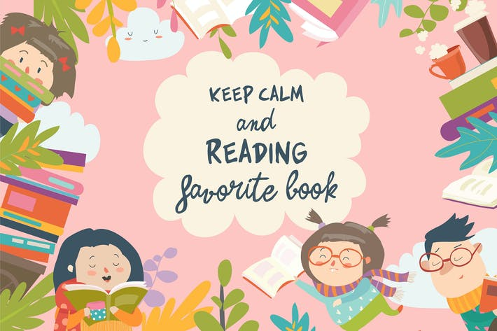 Thumbnail for Cute frame composed of children reading books