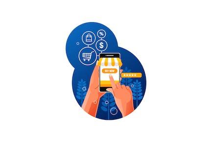 Compras en línea con un teléfono inteligente