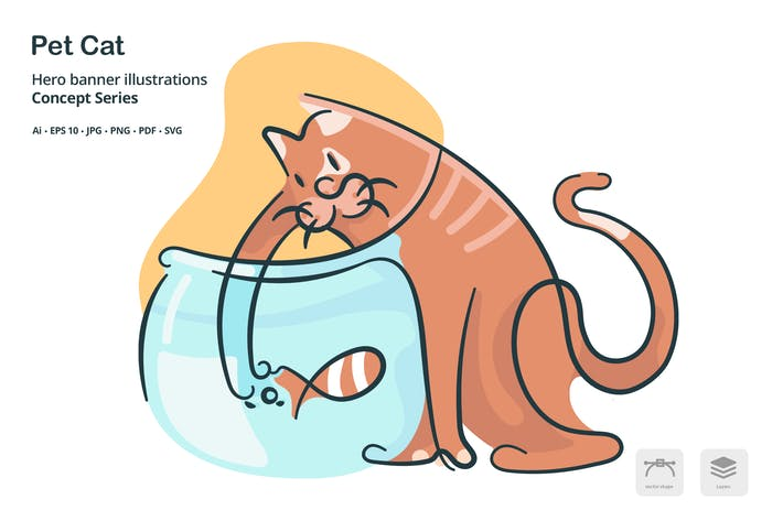 Thumbnail for Pet Cat Vector Illustration