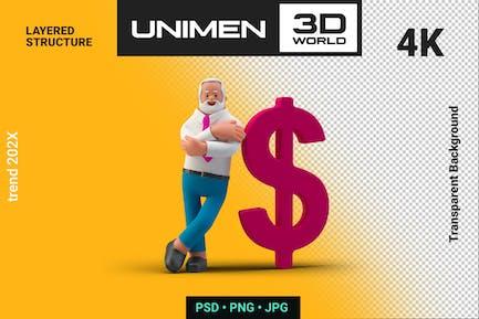 Businessman 3D Standing near Dollar Sign