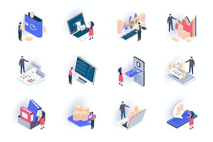 Paquete de Íconos isométricos de contabilidad empresarial