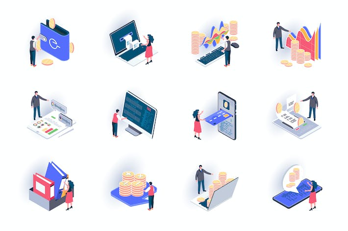 Thumbnail for Business Accounting Isometric Icons Pack