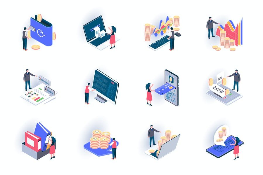 Business Accounting Isometric Icons Pack