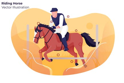 Riding Horse - Vector Illustration