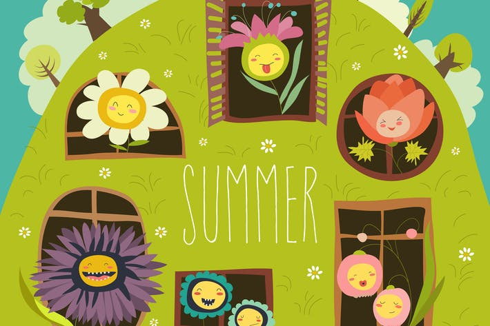 Thumbnail for Cute summer flowers looking out of windows. Vector