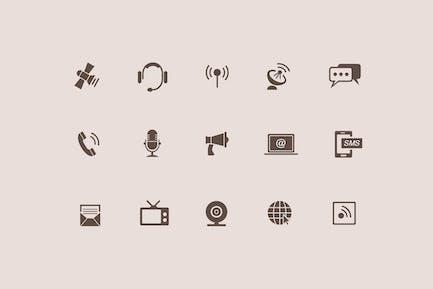 15 Kommunikations- und Audio Icons