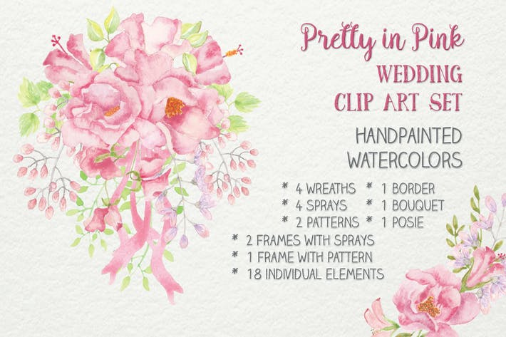 Thumbnail for Pretty in Pink: Wedding Clip Art Set