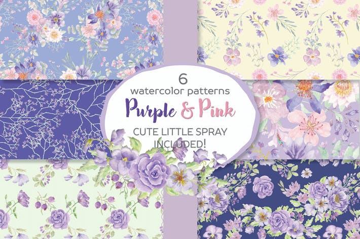 Thumbnail for Seamless Patterns in Purple and Pink Flowers
