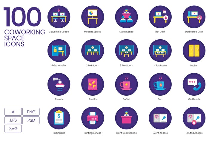 Thumbnail for 100 Coworking Space Icons - Orchid Series
