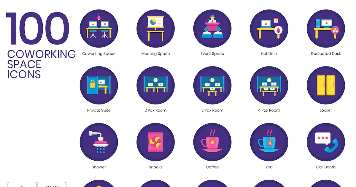 Download 100 Coworking Space Icons - Orchid Series by Krafted