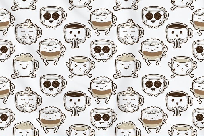 Thumbnail for Cute Coffee Seamless Pattern
