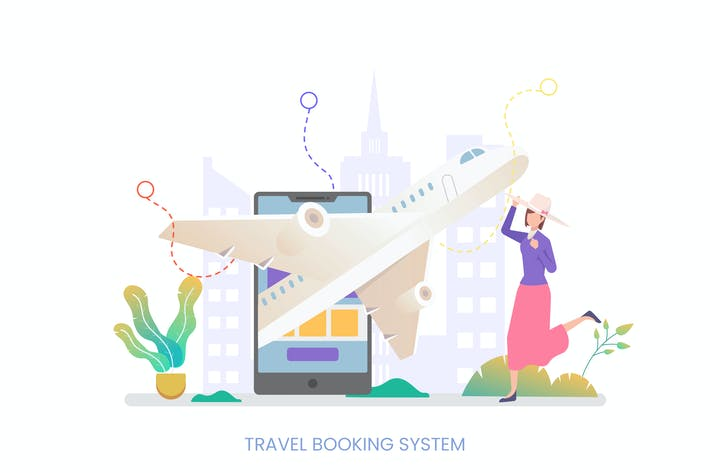 Cover Image For Travel Booking System Vector Illustration Concept