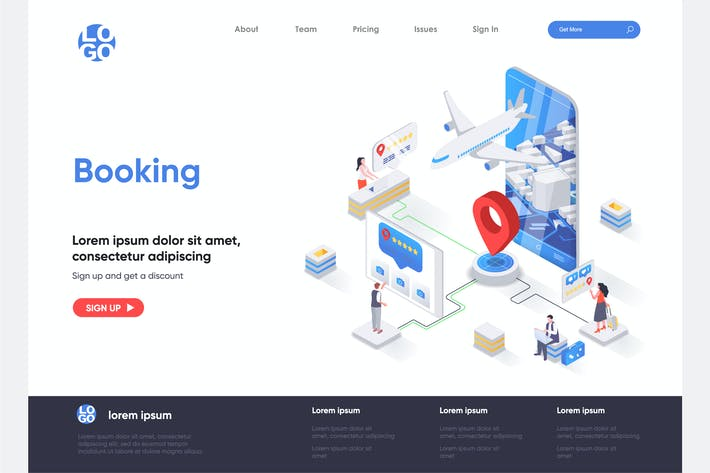 Thumbnail for Booking Isometric Landing Page Template