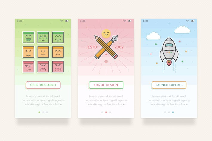 Thumbnail for UX UI - Onboarding Mobile Screens