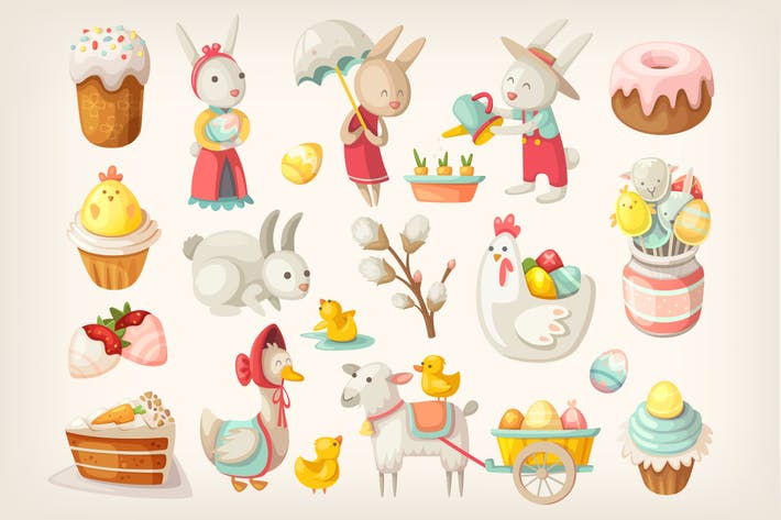 Cover Image For Easter characters, animals and food