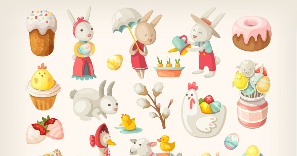Easter characters, animals and food by moonery