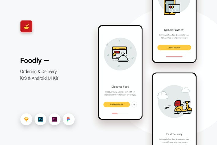 Thumbnail for Foodly - Solicitud de entrega iOS y Android UI Kit 3
