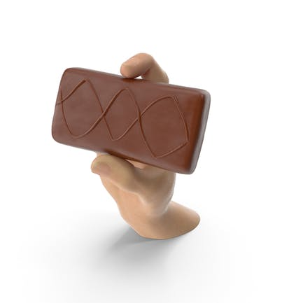 Hand Holding a Sponge Cake Covered in Crisp Chocolate
