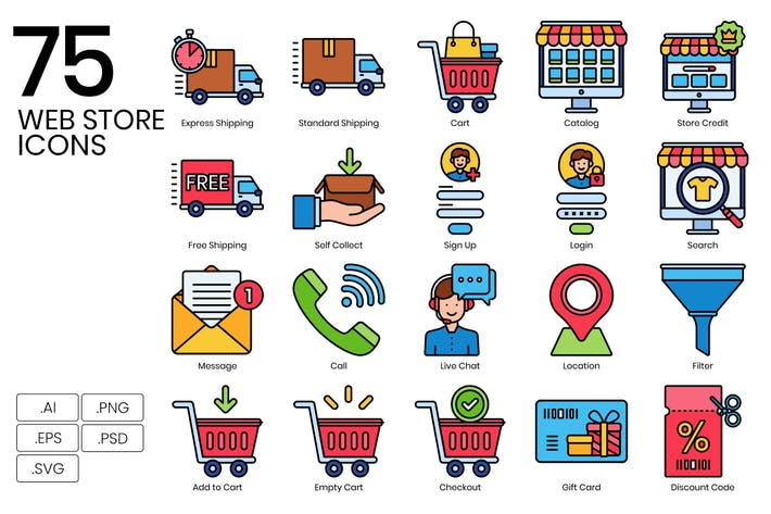 Thumbnail for 75 Web Store & Online Shopping Icons