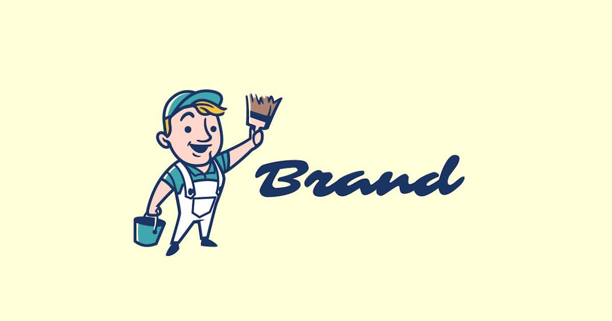Download Retro Wall Painter Mascot Logo by Suhandi