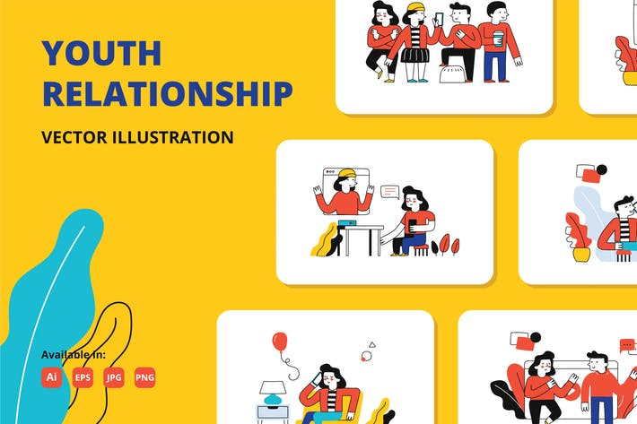 Thumbnail for Youth relationship doodle illustration