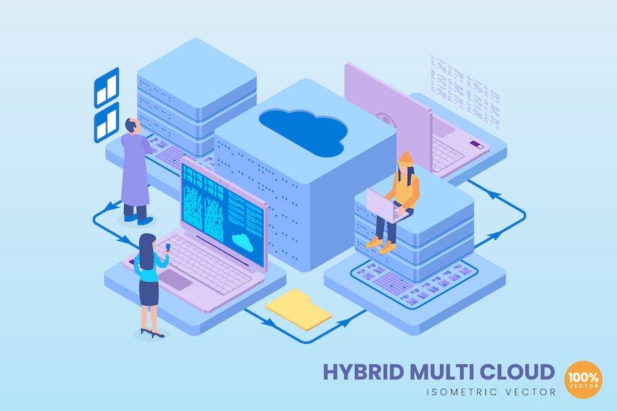 Isometric Hybrid Multi Cloud Concept