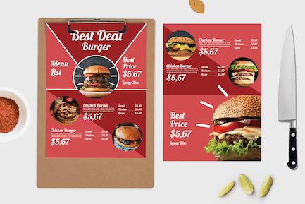 Bester Burger — Speisekarte Vorlage