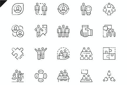 Simple Set Teamwork Line Icons