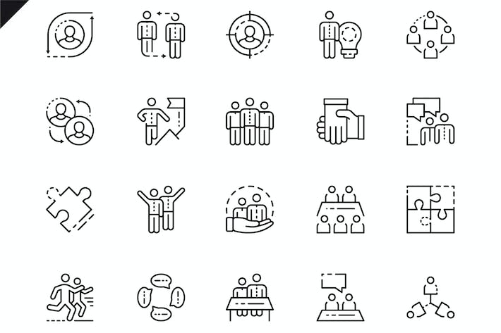 Thumbnail for Simple Set Teamwork Line Icons