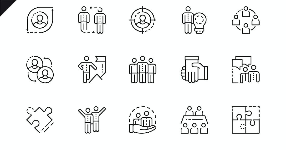 Download Simple Set Teamwork Line Icons by alexdndz