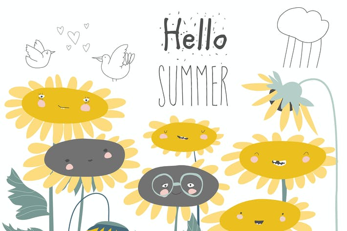 Thumbnail for Cute cartoon smiling sunflowers. Flowers with smil