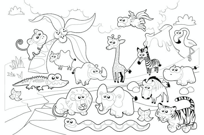 Thumbnail for Famille des animaux de Savannah avec fond