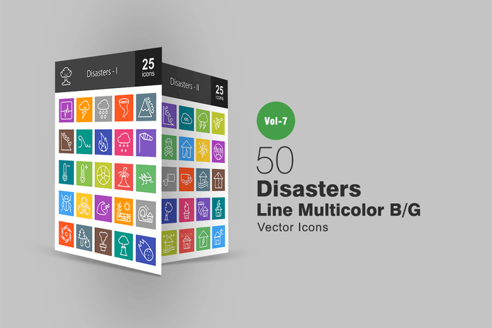 Thumbnail for 50 Disasters Line Multicolor B/G Icons