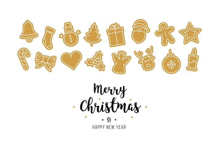 Thumbnail for Christmas golden ornament icons elements isolated