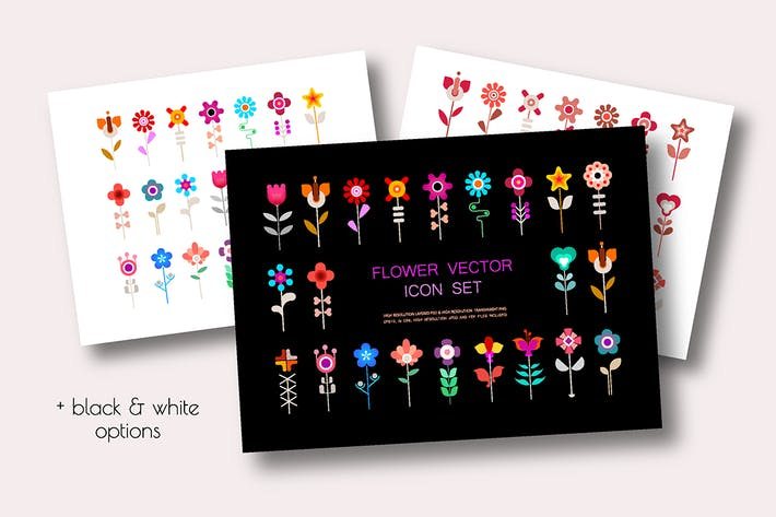 Thumbnail for 4 Option of a Flower Vector Icon Set