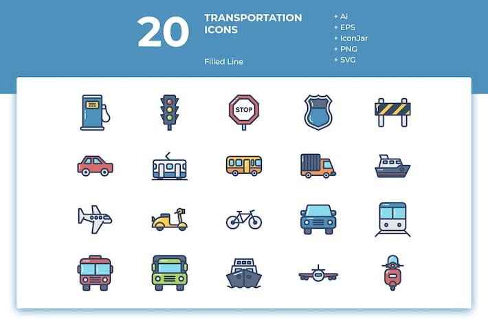 Thumbnail for 20 Transportation Icons (Filled Line)