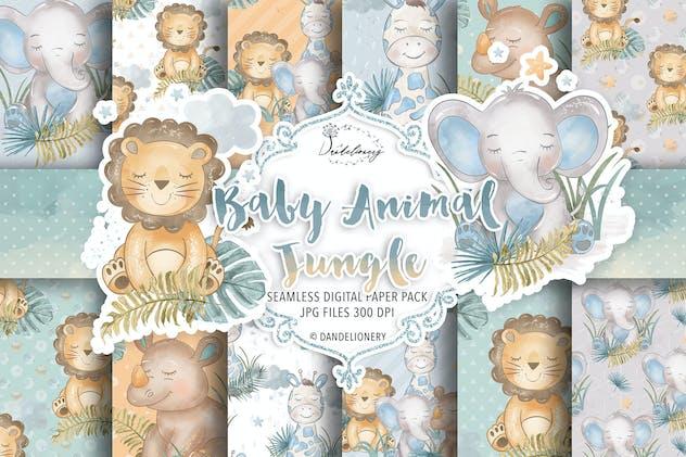 Baby Animal Jungle digital paper pack