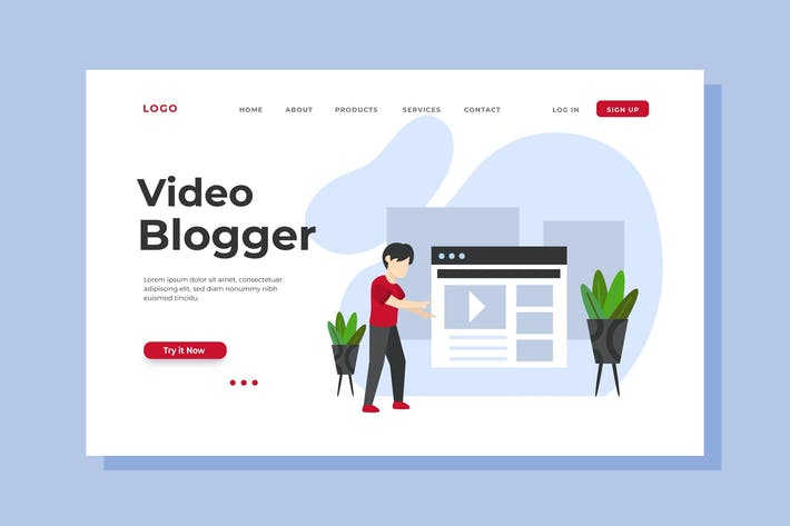 Thumbnail for Video Blogger Landing Page Illustration