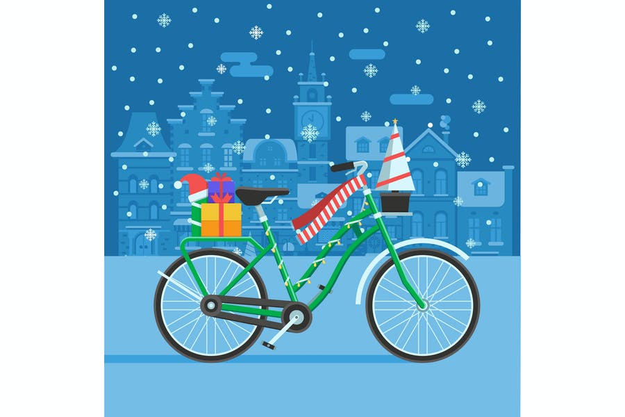 Winter Bike With Christmas Gifts