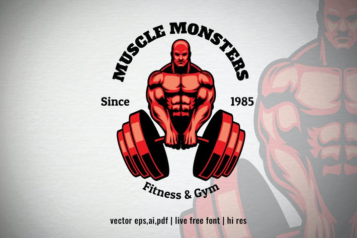 Thumbnail for Muscle Man Bodybuilder Logo
