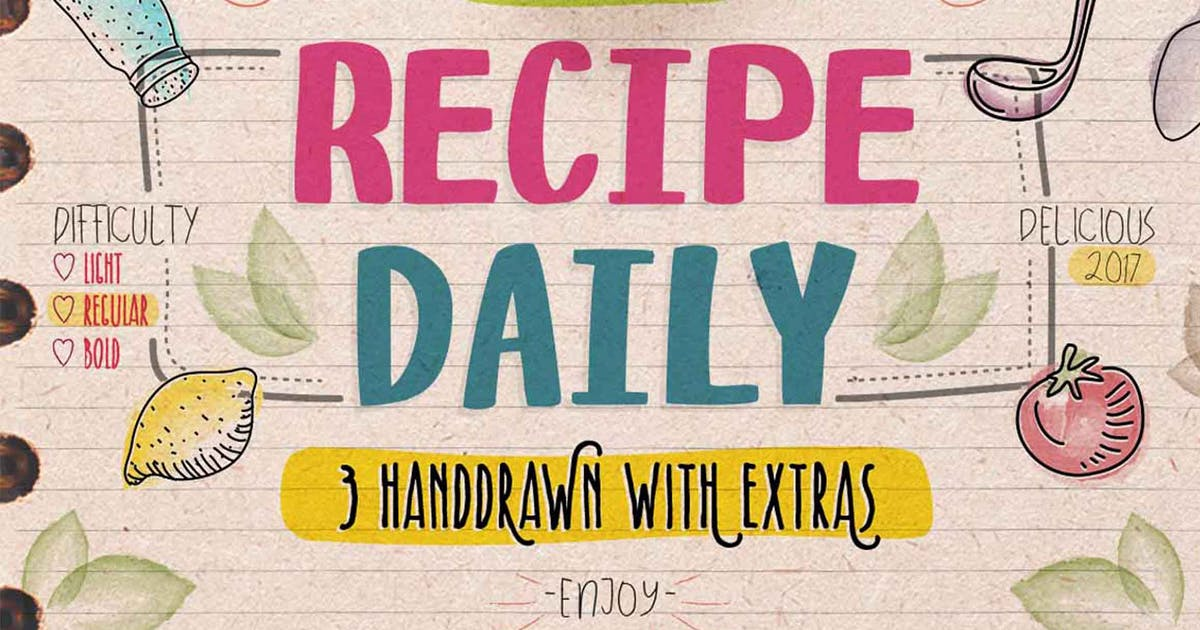 Download Recipe Daily Typeface by jiwstudio
