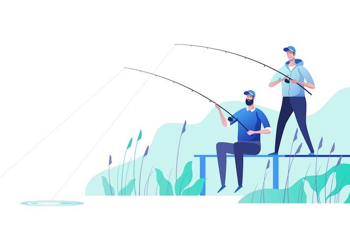 Thumbnail for Fishermen at river bank