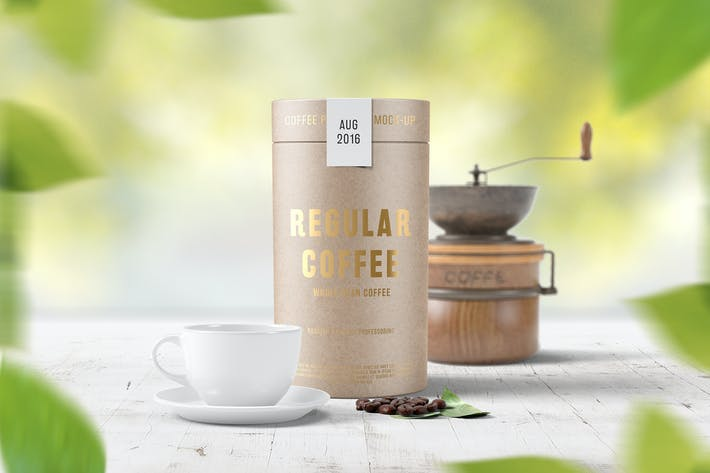 Cover Image For Paper Tube Coffee Package Mock Up