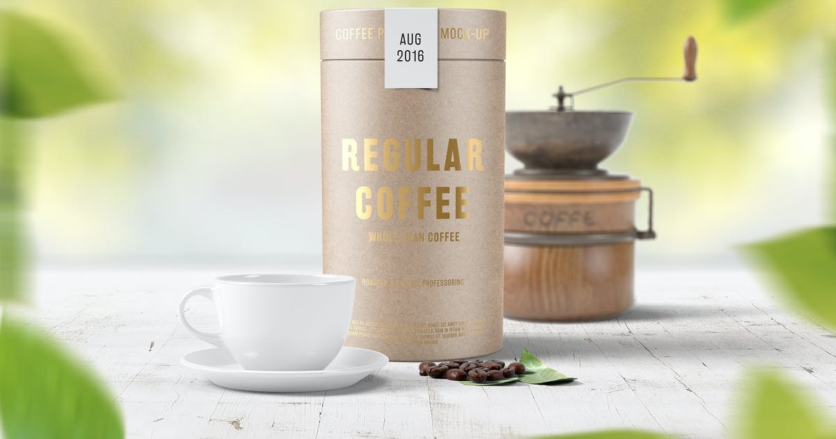 Paper Tube Coffee Package Mock Up by professorinc