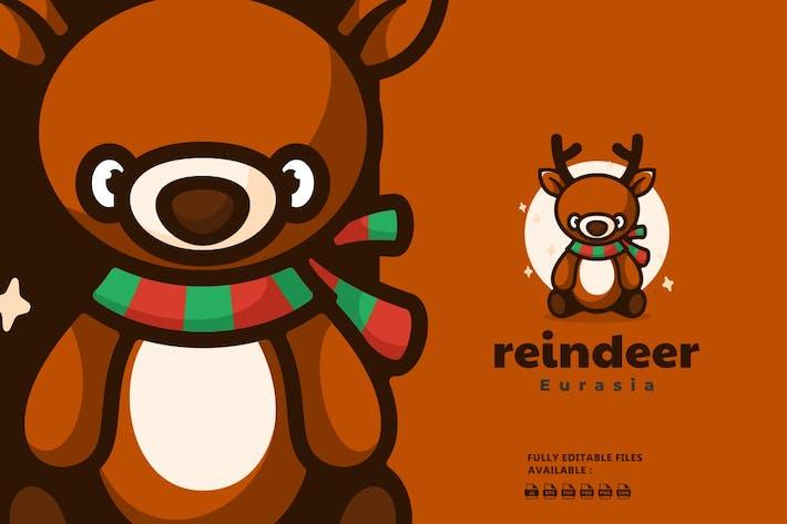 Thumbnail for Cute Reindeer Cartoon Logo