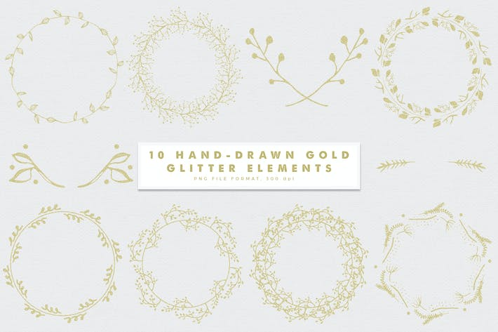 Thumbnail for Gold-2 Glitter Hand-Drawn Elements